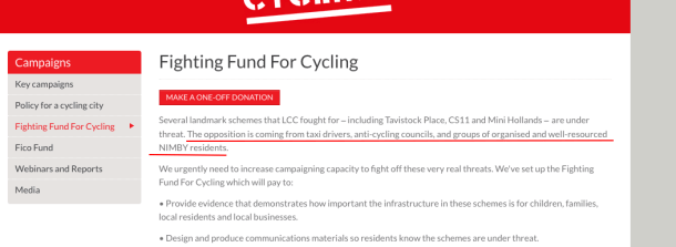 Screen grab of London Cycling Campaign web page