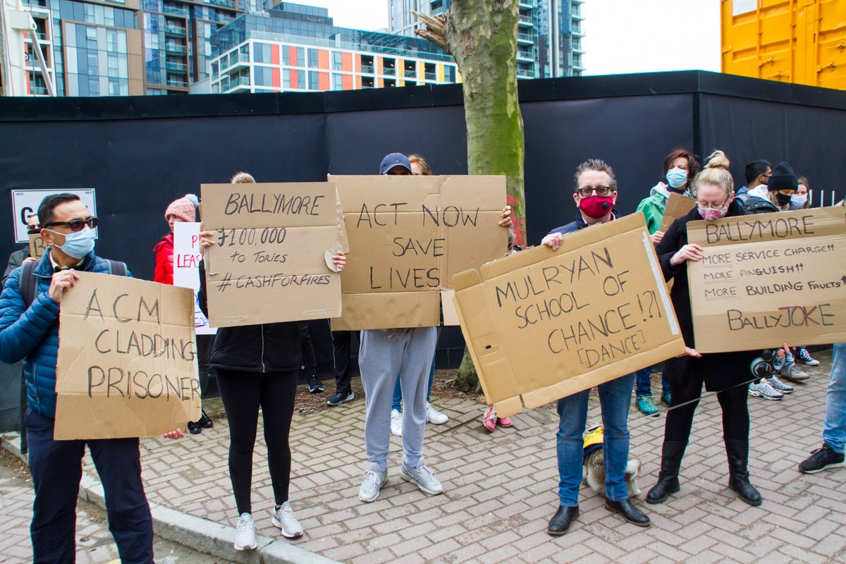 Cladding scandal protestors demonstrating outside Ballymore HQ in Marsh Wall, Tower Hamlets.