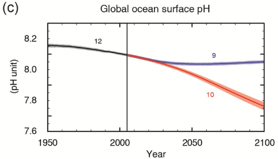 (Fig SPM.7c) CMIP5 multi-model simulated time series from 1950 to 2100 for global mean ocean surface pH. Time series of projections and a measure of uncertainty (shading) are shown for scenarios RCP2.6 (blue) and RCP8.5 (red). Black (grey shading) is the modelled historical evolution using historical reconstructed forcings