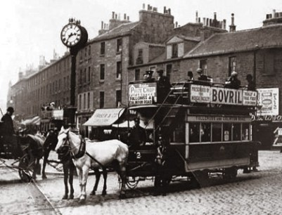 Edinburgh's last horse drawn tram heading from Tollcross to Happy Valley, 1907. © Edinburgh City Archive.