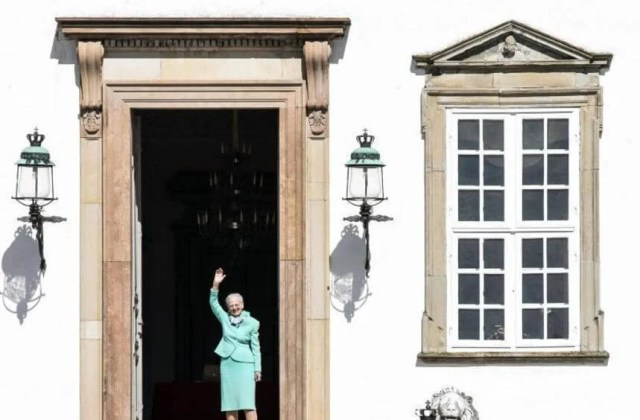 Danish Queen Margrethe is serenaded by her countrymen