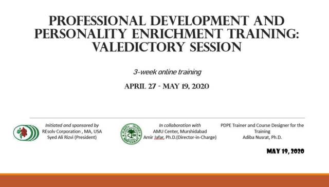 Professional development and personality enrichment online training at Aligarh Muslim University (AMU) center, Murshidabad, West Bengal: An evaluation by students