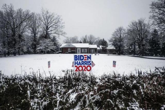 Garden poster in support of Biden in Scranton, Pennsylvania. Trump won the state by less than a percentage point in 2016, but Biden now has a five-point lead. Pennsylvania is expected to be the focus of this year's election.