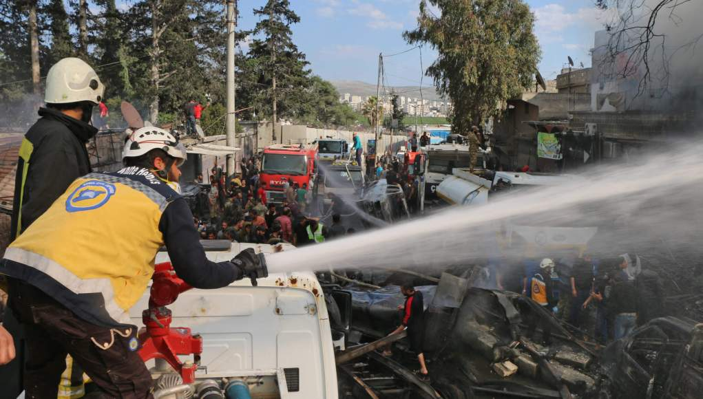 SYRIA-CONFLICT-BLAST-TURKEY-KURDS-The Syrian Observatory reveals the death toll of the