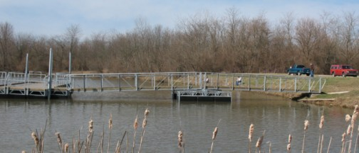 A fishing pier at Atterbury Fish and Wildlife Area