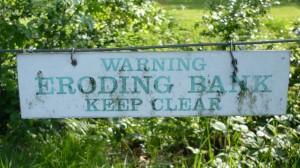 Warning eroding bank