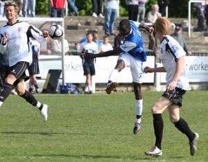 Peter Adeniyi scoring the first goal for Eastleigh