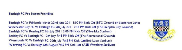 Eastleigh Pre Season Friendlies