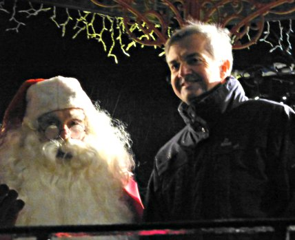 A happy Chris Huhne on Town Bandstand last month