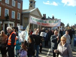 Protestors in Botley Square