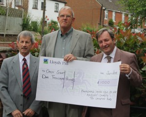 Masons donate cheque to local charity, Open sight