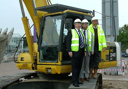 Last September - work commences at Ageas Bowl with Rod Bransgrove (L) Keith House and Howard Pearson, SW Area Manager for Denizen