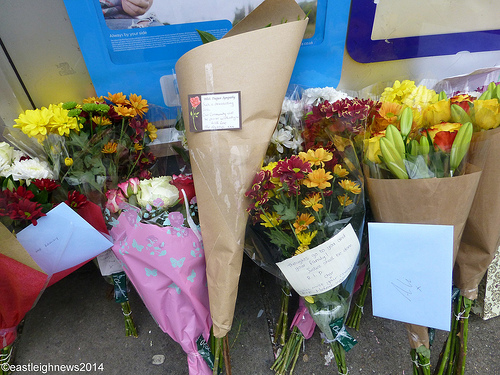 Floral tributes left to murder victim