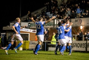 Eastleigh celebrate a last minute Ben Strevens goal