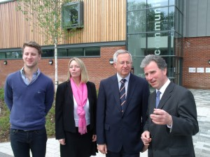 L.R. Jordan Walsh (centre Manager) with Frair Burgess, Richard Robinson and Oliver Letwin MP