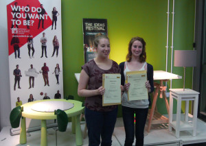 Emma Chiddle and Hazel Crossland with their awards