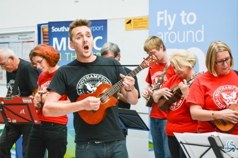 A Ukulele jam at the airport  last year
