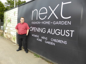 Andrew Helps next to the new NEXT store in Hedge  End