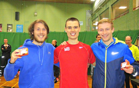 L-R Karl Billington, Matthew Bennett (winner), Ollie Lockley