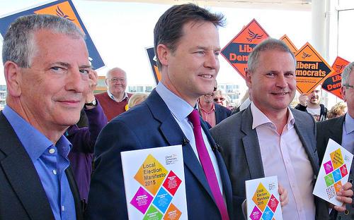 L-R Ex Mp Mike Thornton, Ex Lib Dem Leader Nick Clegg and Keith House.