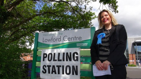 Mims Davies at Polling Station