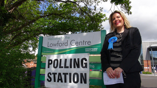 Mims Davies at Polling Station