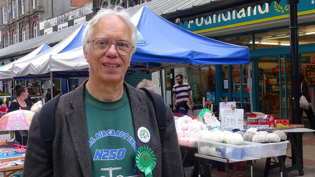 Ron Meldrum canvassing shoppers on polling day