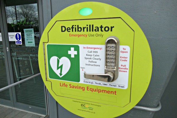 Public access defibrillator outside Eastleigh House