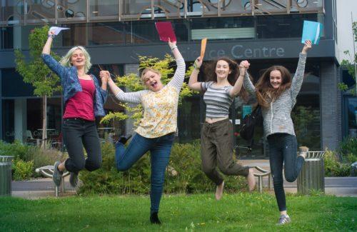 Girls group jumping