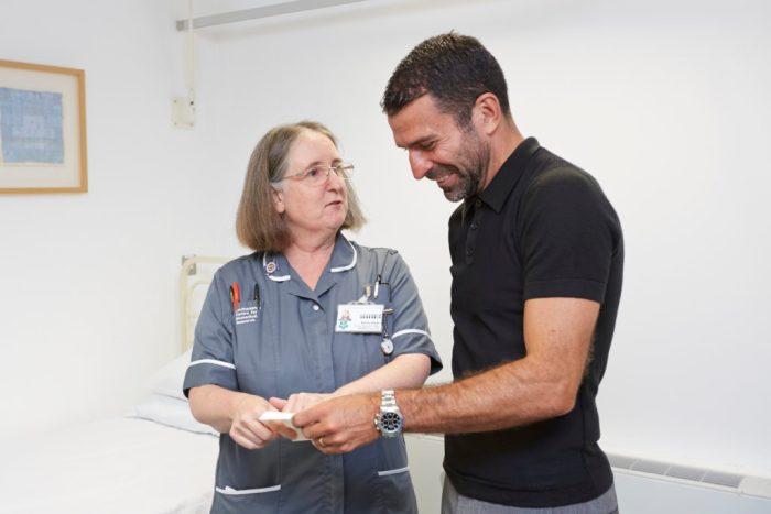 Benali with research nurse