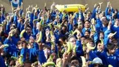 Jubilee Primary School students celebrate their fair trade title. Photo: Jubilee Primary School