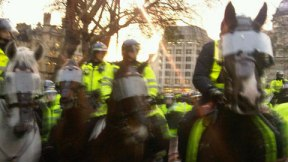 police horses charge half an hour ago. Sending pics again now I'm safe
