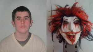 Mitchell Woods and the clown mask he had whilst carrying a loaded gun