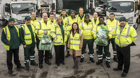 Cllr Feryal Demirci and staff from Hackney's recycling crews. Pic: Sean Pollock
