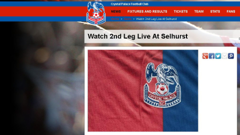 The new Palace badge: Fans can watch match live on Sky at Selhurst Park. Pic: CPFC