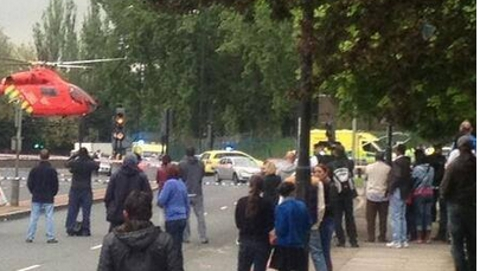 HEMS landing at scene of killing in Woolwich. Pic: Woolwich Community Page on Facebook