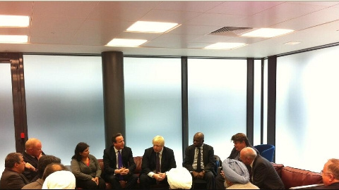 Prime Minister David Cameron, London Mayor Boris Johnson and local MP Nick Rainsford in dialogue to calm the community. Pic: Mayor's Office