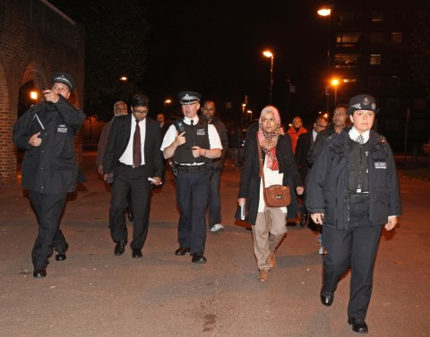 Deputy Mayor councillor, Ohid Ahmed , Borough Commander Dave Stringer  and Coucillor Rania Khan hit the streets