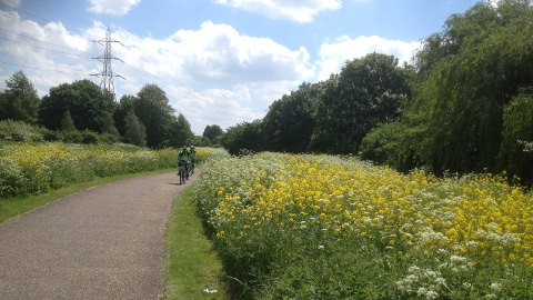 Cycling on Hackney Marshes