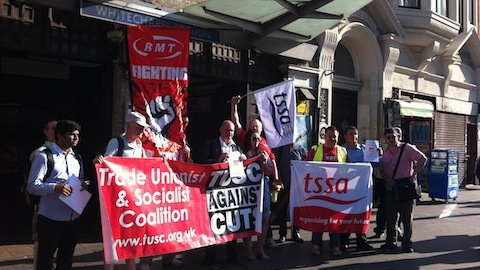 RMT and TSSA rail unions led the protest outside Whitechapel station. Photo: Bill Konos.
