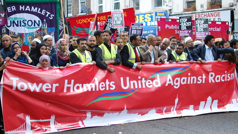 """Members of the counter demo hold a """"victory march"""". Pic: Tomas Jivanda"""