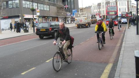 Cyclist in Croydon. Pic:Harry Wood