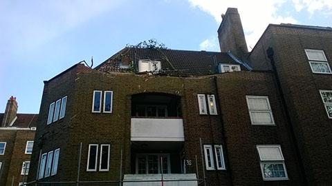Laindon House damaged after the storm. Pic: Chris Dillon
