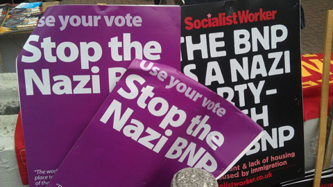 Some of the placards seen on the counter-demo's side. Pic: Courtney Greatrex