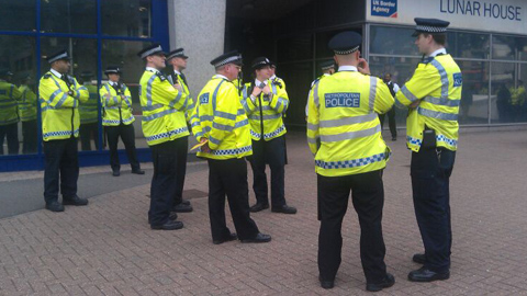 Police congregating. Pic: Courtney Greatrex