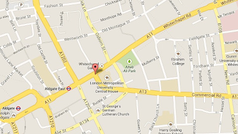 Location of most recent cyclist death, near Whitechapel and Commercial Roads. Pic: Google Maps