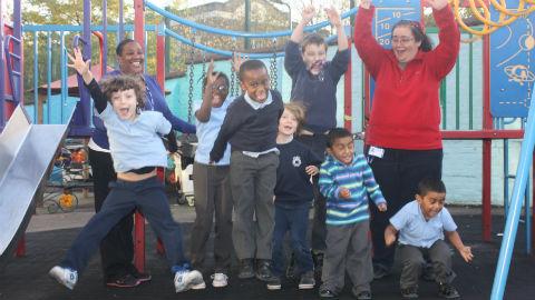 Millfields Community School children celebrate single release. Pic: Emma Finamore