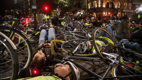 Cyclists gather outside TfL headquarters Pic: Nicolas Chinardet