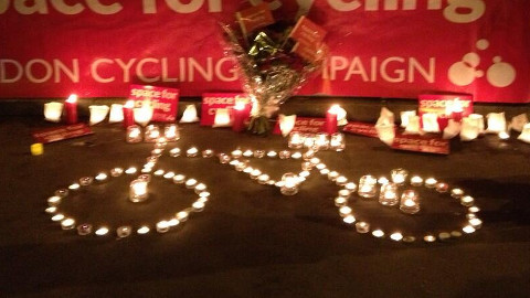 Vigil in Bow after cyclist deaths. Pic: Caroline Russell