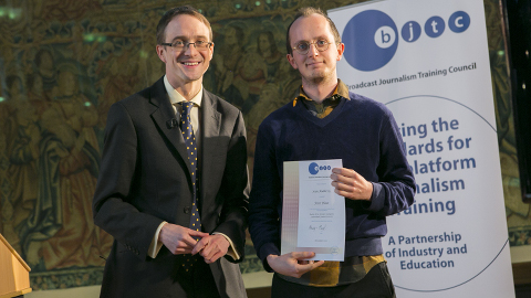 Sean Mullervy collecting his prize at Coventry Universtiy Pic: Graham Hardwood